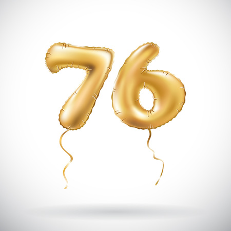 vector Golden number 76 seventy six metallic balloon. Party decoration golden balloons. Anniversary sign for happy holiday, celebration, birthday, carnival, new year. art