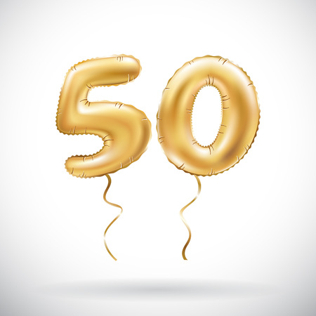 vector Golden number 50 fifty metallic balloon. Party decoration golden balloons. Anniversary sign for happy holiday, celebration, birthday, carnival, new year. art