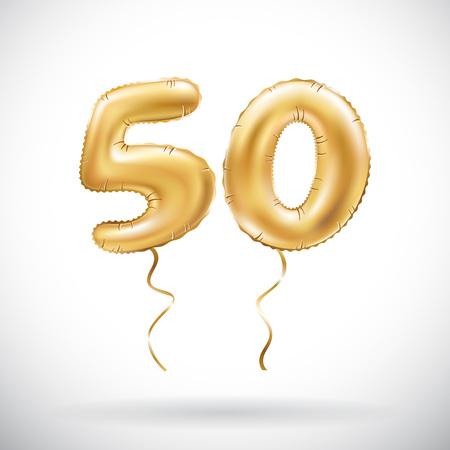 Vektor goldene Zahl 50 fünfzig metallischer Ballon. Goldene Ballone der Partydekoration. Jubiläumszeichen für einen schönen Urlaub, Feier, Geburtstag, Karneval, Neujahr. Kunst Vektorgrafik