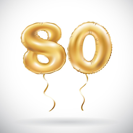 vector Golden number 80 eighty balloon. Party decoration golden balloons. Anniversary sign for happy holiday, celebration, birthday, carnival, new year. art