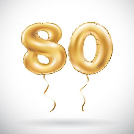 Vector Número de oro 80 ochenta globos. Globos de oro de la decoración del partido. Signo de aniversario para felices fiestas, celebración, cumpleaños, carnaval, año nuevo. art Foto de archivo - 84155109