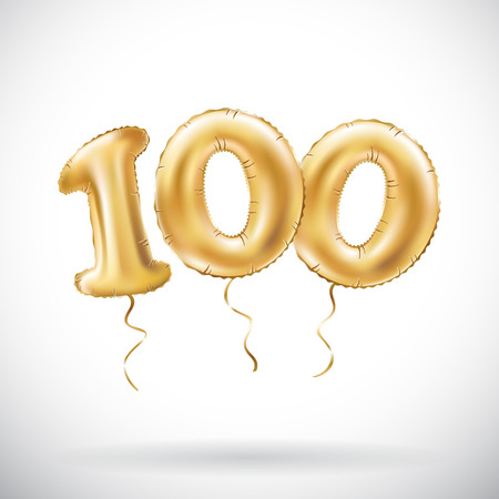 vector Golden number 100 hundred metallic balloon. Party decoration golden balloons. Anniversary sign for happy holiday, celebration, birthday, carnival, new year. art