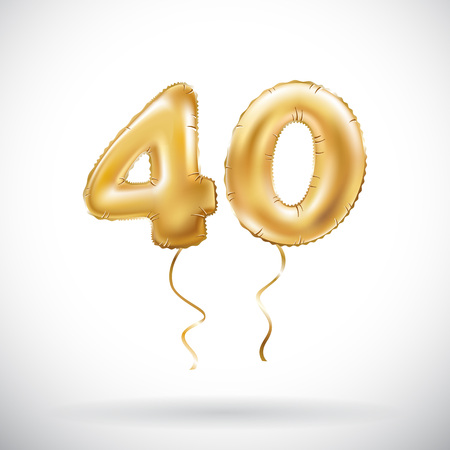 vector Golden number 40 forty metallic balloon. Party decoration golden balloons. Anniversary sign for happy holiday, celebration, birthday, carnival, new year. art