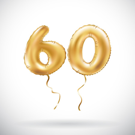 vector Golden number 60 sixty metallic balloon. Party decoration golden balloons. Anniversary sign for happy holiday, celebration, birthday, carnival, new year. art