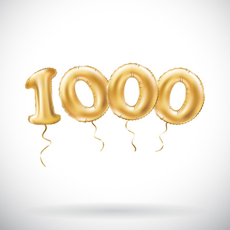 vector Golden number 1000 one thousand metallic balloon. Party decoration golden balloons. Anniversary sign for happy holiday, celebration, birthday, carnival, new year. art