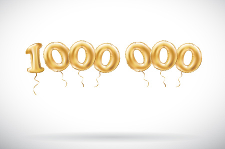 vector Golden number 1000000 one Million metallic balloon. Party decoration golden balloons. Anniversary sign for happy holiday, celebration, birthday, carnival, new year. art