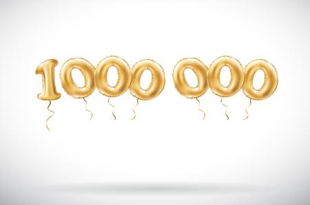 vettore Numero d'oro 1000000 un milione di palloncini metallici. Palloncini d'oro decorazione del partito. Segno di anniversario per una vacanza felice, celebrazione, compleanno, carnevale, nuovo anno. arte