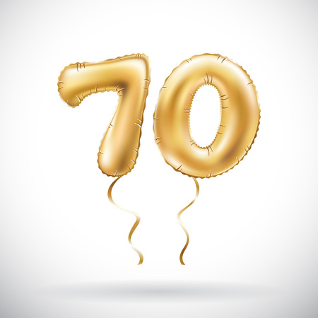 vector Golden number 70 seventy metallic balloon. Party decoration golden balloons. Anniversary sign for happy holiday, celebration, birthday, carnival, new year. art Vettoriali