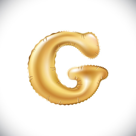 Vector Metallic Gold G Balloons, letra de oro. año nuevo, vacaciones, cumpleaños, celebración. Fuente brillante brillante de oro en el aire. art Foto de archivo - 84876831