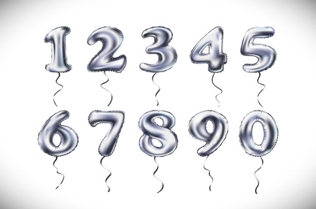 Silver number 1, 2, 3, 4, 5, 6, 7, 8, 9, 0 metallic balloon. Party decoration golden balloons. Anniversary sign for happy holiday, celebration, birthday, carnival, new year. art