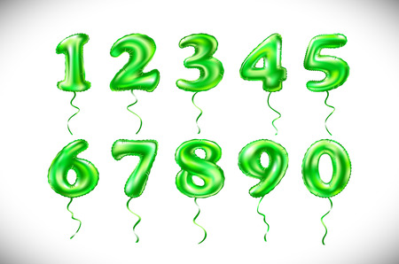 7 8: Party decoration golden balloons. Anniversary sign for happy holiday, celebration, birthday, carnival, new year. art vector green number 1, 2, 3, 4, 5, 6, 7, 8, 9, 0 metallic balloon. Illustration