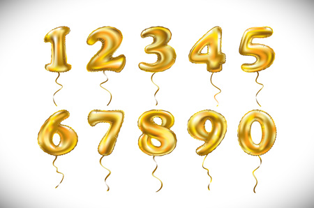 Golden number 1, 2, 3, 4, 5, 6, 7, 8, 9, 0 metallic balloon. Party decoration golden balloons. Anniversary sign for happy holiday, celebration, birthday, carnival, new year. Vectores