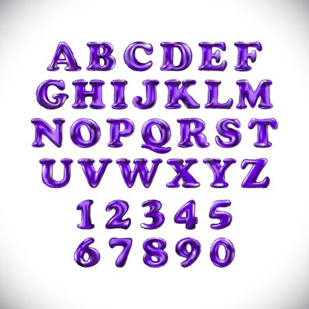 English alphabet and numerals from purple, violet balloons on a white background. holidays and education art