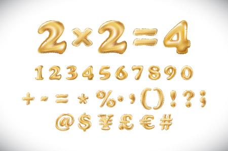 Metallic Gold Letter Balloons, 1 2 3 4 5 6 7 8 9 golden numeral alphabeth. mathematics, numbers art