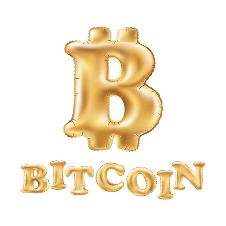Bitcoin crypto currency blockchain balloon gold logo. Block chain sticker for web or print. art vector