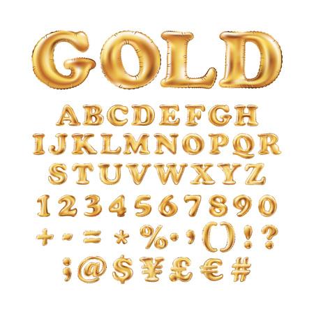 Globos de oro metálico del alfabeto, tipo de letra de oro para el texto, letra, año nuevo, día de fiesta, cumpleaños, celebración. Oro brillante fuente brillante en el aire. Art º