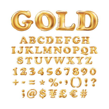 Metallic Gold alphabet Balloons, golden letter type for Text, Letter, new year, holiday, birthday, celebration. Golden shiny bright font in the air. art Stock Illustratie