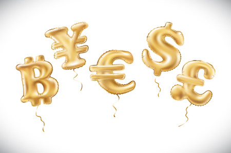 vector Gold dollar euro yen pound sterling bitcoin symbol alphabet balloons, money and currency, Golden number and letter balloon art