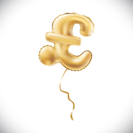 Gold alphabet balloons, pound sterling sign, Gold number and letter balloon art