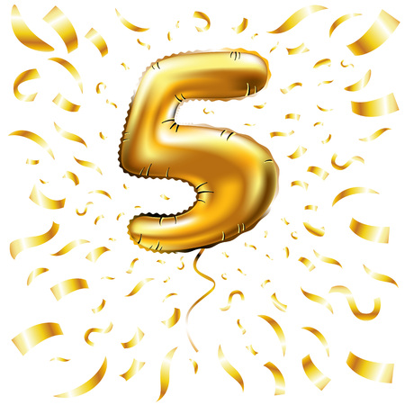 Golden number 5 five made of inflatable balloon with golden ribbon isolated on white background Illustration