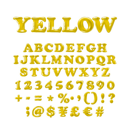 English alphabet and numerals from yellow balloons on a white background. holidays and education art Illustration