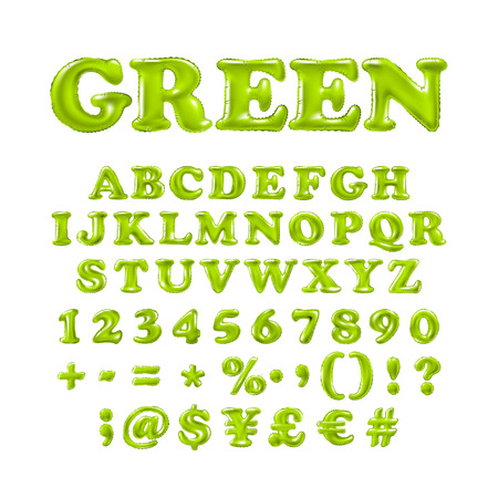 English alphabet and numerals from green balloons on a white background. holidays and education art