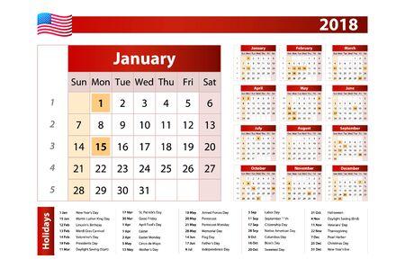 흰색 배경에 표시된 미국 공휴일 2018에 대 한 일정. 주일은 일요일에 시작됩니다. 미국의 국경일이 표시됩니다. 간단한 벡터 템플릿입니다. 편지지 디 일러스트