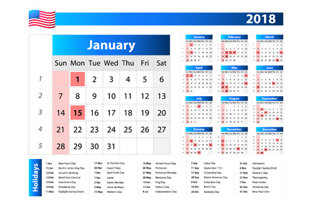 USA calendar 2018 - official holidays and non-working days, week starts on sunday art