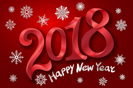 2018 happy New Year design element for presentations, flyers, leaflets, postcards and posters. Vector illustration EPS10 art Vettoriali