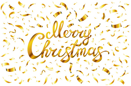 Pretty Merry Christmas Card Template. Gold Glitter Confetti And ...