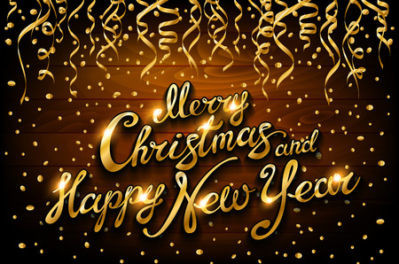 vector golden streamers and confetti on wooden holiday background with lettering Merry Christmas and Happy New Year