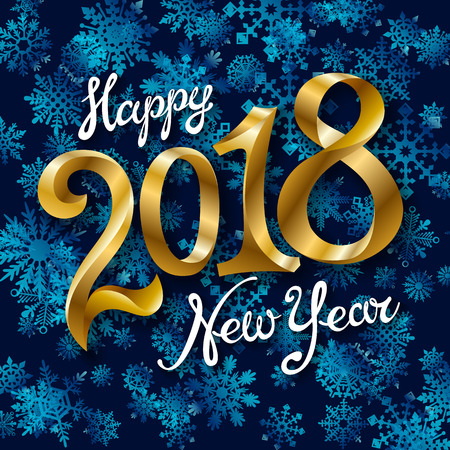Happy New Year 2018 text design. Vector greeting illustration with golden numbers and snowflake art