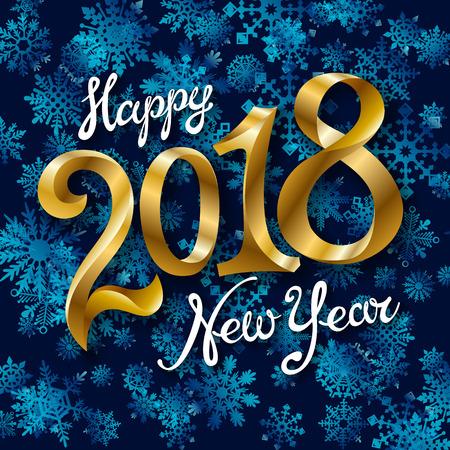 Feliz año nuevo 2018 diseño de texto. Ilustración de saludo de vector con números dorados y arte de copo de nieve