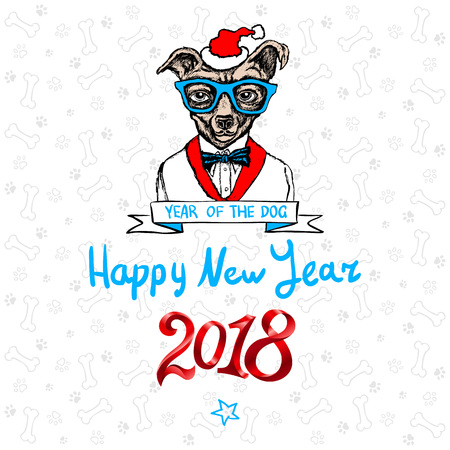 Happy 2018 New Year card. Funny puppy congratulates on holiday. Dog Chinese zodiac symbol of the year. Vector illustration. art