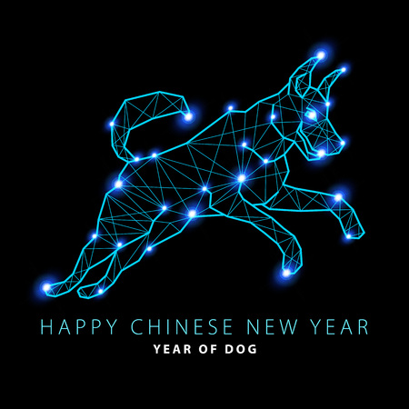 2018 New Year Vector illustration of Canis Major. Dog constellation hand-drawn background.