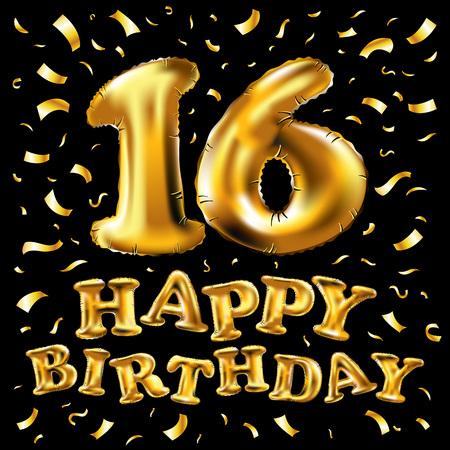 16. Geburtstagsfeier mit goldenen Luftballons und bunten Konfetti, glänzt. Design der Illustration 3d für Ihre Grußkarte, Geburtstagseinladung und Feierparty von sechzehn Jahren Jahrestag.