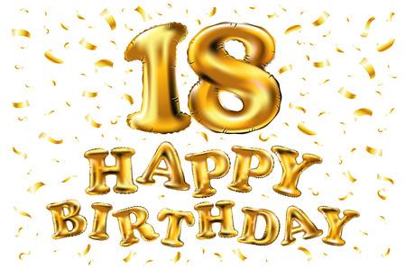 18e anniversaire avec des ballons d'or et des confettis colorés, des paillettes. Illustration 3d design pour votre carte de voeux, invitation d'anniversaire et fête de célébration de l'anniversaire de dix-huit ans. Banque d'images - 93965470