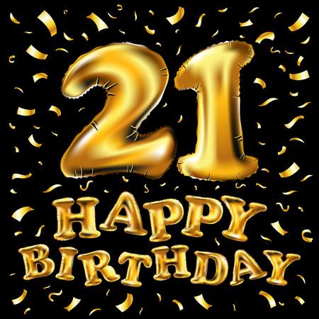 21 aniversario de celebración de logotipo con globo dorado y confeti, aislado sobre fondo oscuro Foto de archivo - 94113107