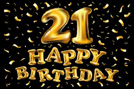 Golden number twenty one metallic balloon. Party decoration golden balloons. Anniversary sign for happy holiday, celebration, birthday, carnival, new year. 21 Metallic design balloon. art