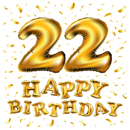 Vector Happy Birthday 22 Anniversary Celebration With Brilliant