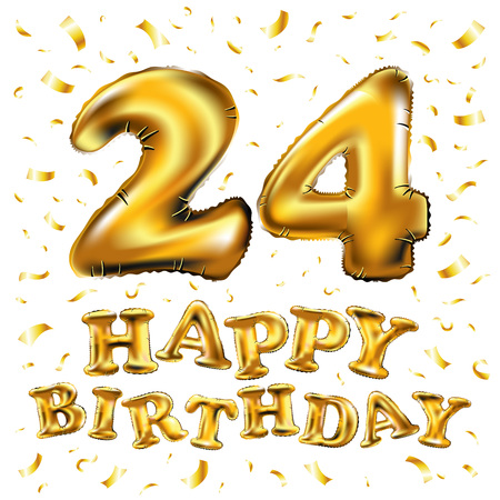 vector happy birthday 24rd celebration gold balloons and golden confetti glitters. 3d Illustration design for your greeting card, invitation and Celebration party of twenty four 24 years anniversary Illustration