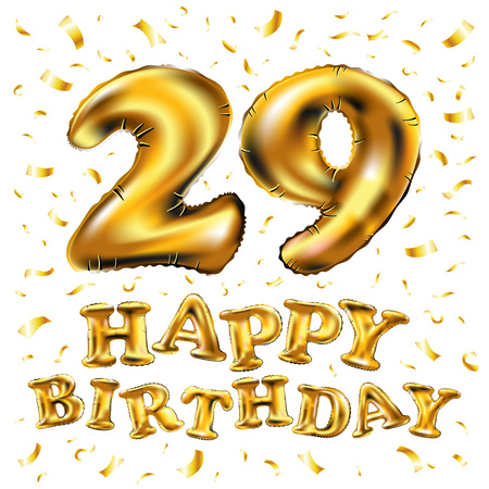 vector happy birthday 29rd celebration gold balloons and golden confetti glitters. 3d Illustration design for your greeting card, invitation and Celebration party of twenty nine 29 years anniversary Illustration