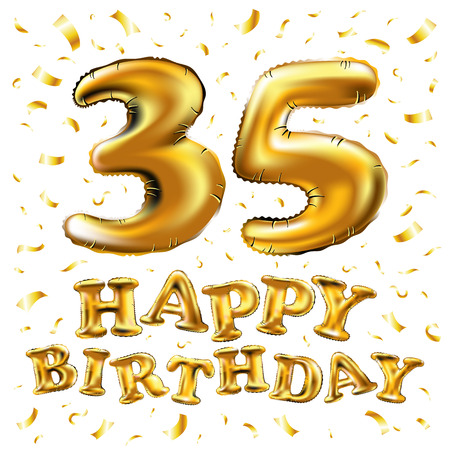vector happy birthday 35th celebration gold balloons and golden confetti glitters. 3d Illustration design for your greeting card, invitation and Celebration party of thirty five 35 years