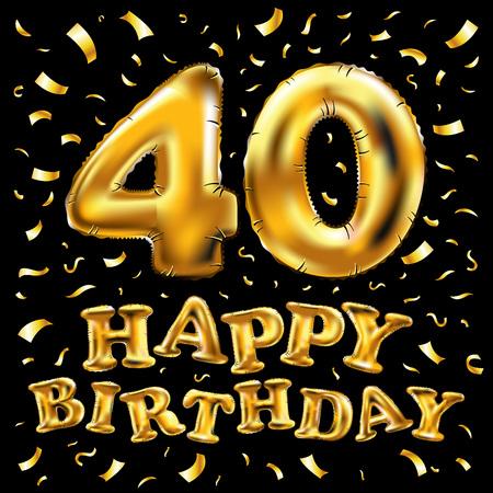 ベクトルハッピーバースデー40周年お祝い金風船と金色の紙吹雪の輝き。40年のあなたのグリーティングカード、招待状と祝賀パーティーのための3D  イラスト・ベクター素材