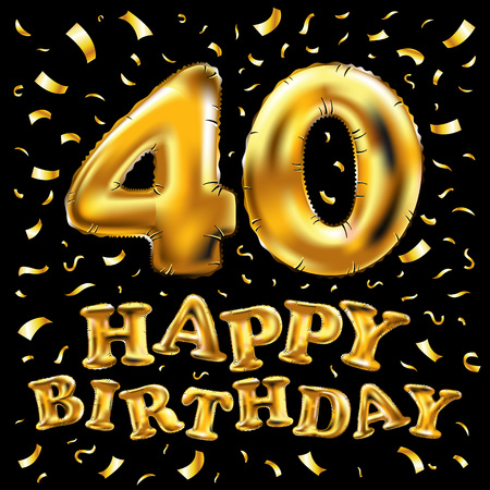 vector happy birthday 40th celebration gold balloons and golden confetti glitters. 3d Illustration design for your greeting card, invitation and Celebration party of forty 40 years