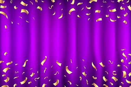 vector violet purple Curtain gold Confetti Greeting Card, background with Free Space. Luxury, Glamour Design with Shine Sparkles art