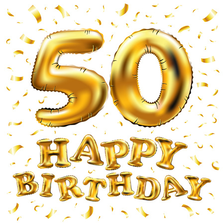 Happy birthday 50th celebration gold balloons and golden confetti glitters.