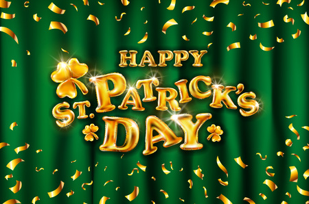 vector Happy St. Patrick's Day on green curtain background celebration gold balloons and golden confetti glitters. 3d Illustration design for your greeting card, invitation party art