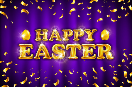 vector gold Happy Easter balloon drawn on violet background. Illustration painted bright golden confetti color Card art