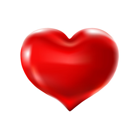 Big red heart on a white background. Vector celebration balloons glitters. 3d Illustration design for your greeting card, invitation and party love.